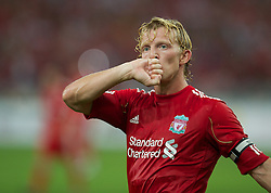 KUALA LUMPUR, MALAYSIA - Saturday, July 16, 2011: Liverpool's Dirk Kuyt celebrates scoring the sixth goal against a Malaysia XI at the National Stadium Bukit Jalil in Kuala Lumpur on day six of the club's Asia Tour. (Photo by David Rawcliffe/Propaganda)