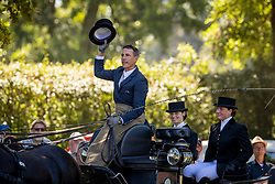 DodderAillaud Benjamin, FRA, Beene van de Dubelsile, Douwe Fan't Oosterzand, Maestoso Leo, Sybren P<br /> Prizegiving FEI rider of the year<br /> Driving European Championship <br /> Donaueschingen 2019<br /> © Hippo Foto - Dirk Caremans<br /> Aillaud Benjamin, FRA, Beene van de Dubelsile, Douwe Fan't Oosterzand, Maestoso Leo, Sybren P