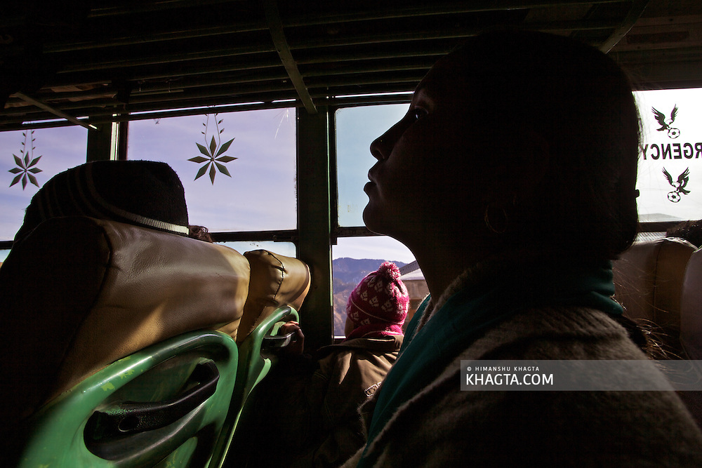 Silhouette of a lady in a bus to Rekong Peo, Kinnaur, Himachal Pradesh