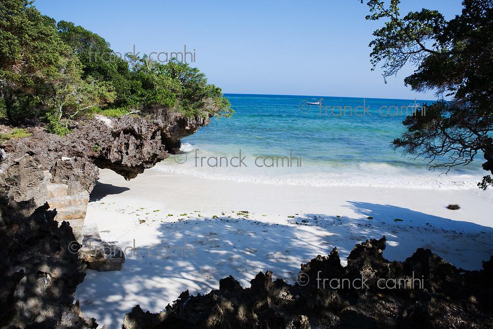 beautiful white sand beach in the beautiful chale island near mombassa kenya