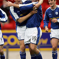 St Johnstone v Hamilton Accies..06.11.04<br />Peter MacDonald celebrates his goal with Ian Maxwell<br /><br />Picture by Graeme Hart.<br />Copyright Perthshire Picture Agency<br />Tel: 01738 623350  Mobile: 07990 594431