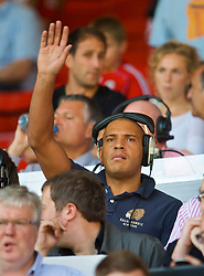 LIVERPOOL, ENGLAND - Saturday, September 12, 2009: Talk Sport journalist and former Liverpool striker Stan Collymore in the press box at Anfield. (Photo by David Rawcliffe/Propaganda)