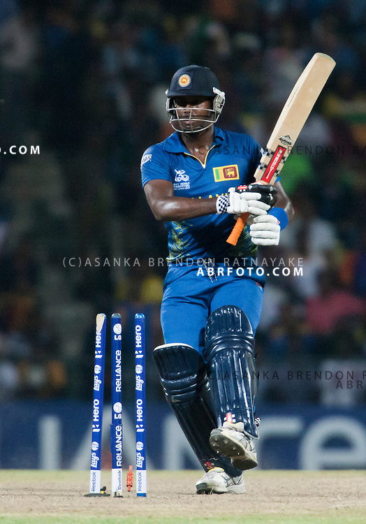 Angelo Matthews looks at his broken stumps after getting bowled during the ICC world Twenty20 Cricket held in Sri Lanka.