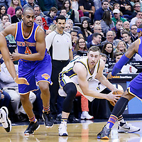 09 December 2015: Utah Jazz forward Gordon Hayward (20) looks to pass the ball past New York Knicks forward Carmelo Anthony (7) during the Utah Jazz 106-85 victory over the New York Knicks, at the Vivint Smart Home Arena, Salt Lake City, Utah, USA.