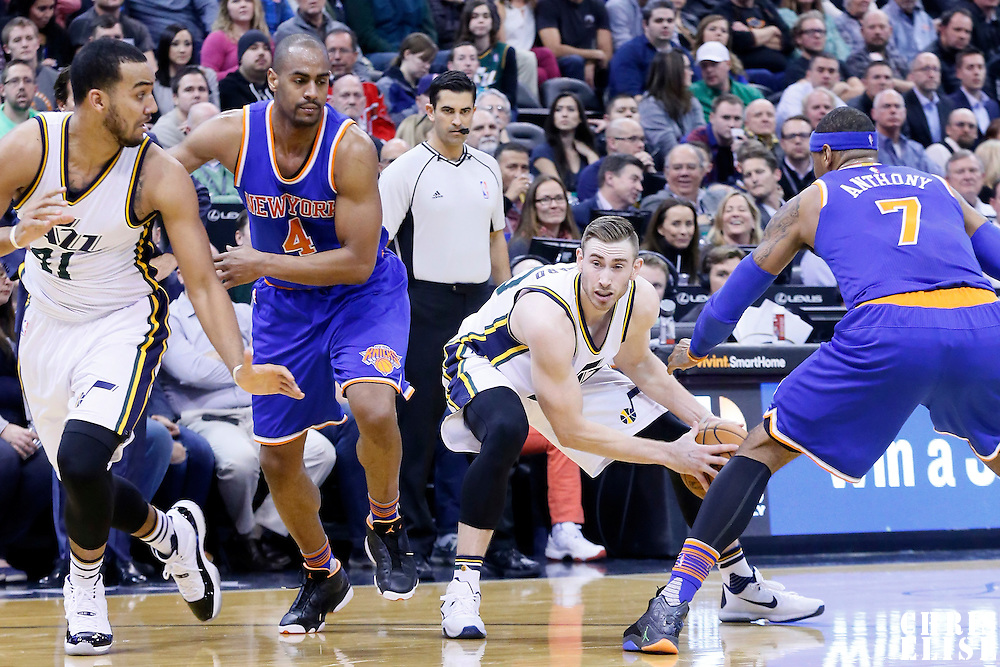 09 December 2015: Utah Jazz forward Gordon Hayward (20) looks to pass the ball past New York Knicks forward Carmelo Anthony (7) during the Utah Jazz 106-85 victory over the New York Knicks, at the Vivint Smart Home Arena, Salt Lake City, Utah, USA.