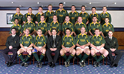The South African Rugby Union squad pose for a team photograph in Kensington, West London, ahead of the international against England at Twickenham.   *  (Top row l-r) Louis Koen,  Ollie Le Roux, John Smit, AJ Venter, Victor Matfield, Andre Vos, Corne Krige, Braam van Straaten, and Deon de Kock. (Middle row l-r) Breyton Paulse, Trevor Halstead, Dean Hall, Andre Snyman, Lucas van Biljon, Cobus Visagie, Willie Meyer and Conrad Jantjies. (Bottom row l-r) Heyneke Meyer, Percy Montgomery, Joost V.D. Westhuizen, Harry Viljoen (coach) , Bob Skinstad (captain), Mark Andrews, Andre Venter and Tim Lane.