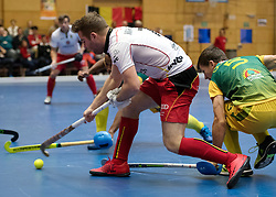 BERLIN - Indoor Hockey World Cup<br /> South Africa - Belgium<br /> foto: Pierre Louis Maraite <br /> WORLDSPORTPICS COPYRIGHT FRANK UIJLENBROEK