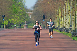 ©Licensed to London News Pictures 08/04/2020  <br /> Greenwich, UK. Morning runners. People get out of the house from Coronavirus lockdown to exercise and enjoy the sunny weather in Greenwich park,Greenwich, London. Photo credit:Grant Falvey/LNP