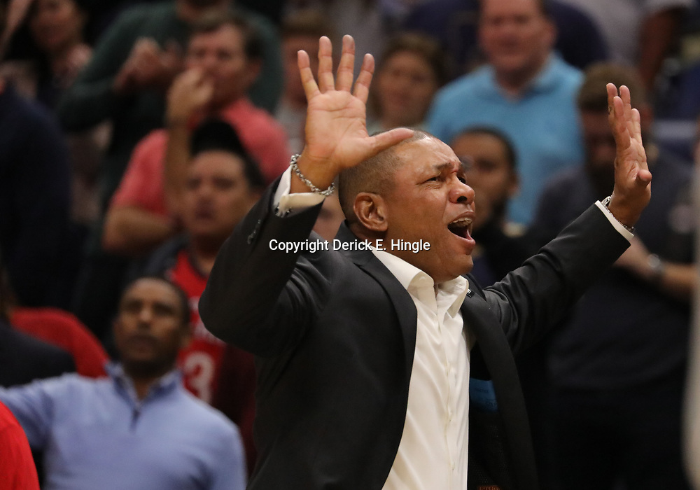 Oct 23, 2018; New Orleans, LA, USA; Los Angeles Clippers head coach Doc Rivers during the second half against the New Orleans Pelicans at the Smoothie King Center. The Pelicans defeated the Clippers 116-109. Mandatory Credit: Derick E. Hingle-USA TODAY Sports