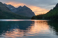 Alpenglow over Upper Kintla Lake Glacier National Park