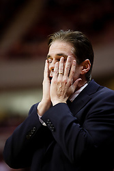 6 February 2010: Coach Tim Jankovich holds his head in disbelief that this game could get any more crazy. The Redbirds of Illinois State pull out a win against the Bulldogs of Drake 71-68 on Doug Collins Court inside Redbird Arena at Normal Illinois.