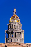Dome of Colorado State Capitol Building, Downtown Denver, Colorado USA.