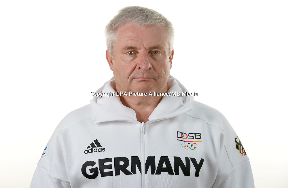 Claus-Dieter Roth poses at a photocall during the preparations for the Olympic Games in Rio at the Emmich Cambrai Barracks in Hanover, Germany. July 07, 2016. Photo credit: Frank May/ picture alliance. | usage worldwide