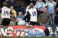 Photo: Paul Thomas.<br /> Preston North End v Manchester City. The FA Cup. 18/02/2007.<br /> <br /> Georgios Samaras (Ground) of Man City scores the winning goal.