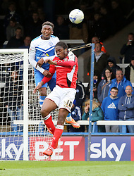 Peterborough United's Kgosi Ntlhe out jumps Walsall's Romaine Sawyers - Photo mandatory by-line: Joe Dent/JMP - Mobile: 07966 386802 - 06/04/2015 - SPORT - Football - Peterborough - ABAX Stadium - Peterborough United v Walsall - Sky Bet League One