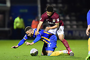 Northampton Town midfielder (on loan from Legia Warsaw) Hildeberto Pereira (28) tussles with Shrewsbury Town striker (on loan from Norwich City) Carlton Morris (9) during the EFL Sky Bet League 1 match between Northampton Town and Shrewsbury Town at Sixfields Stadium, Northampton, England on 20 March 2018. Picture by Dennis Goodwin.