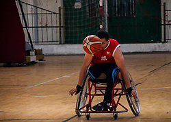 November 18, 2018 - The final match for the men's wheelchair basketball Gaza championship takes place in the Saad Sayel Hall in Gaza City between the team of Al Salam Sport Club and the team of Al Hilal Sport Club, and ended with the victory of the Al-Salam team. The International Committee of the Red Cross, together with the Palestinian Paralympic Committee, the municipality of Gaza City, and the Union of Wheelchair Basketball, has promoted the inclusion of people with disabilities in all aspects of life in Gaza and supported their universal right of integration in the political, social, economic and cultural life of their territory (Credit Image: © Ahmad Hasaballah/IMAGESLIVE via ZUMA Wire)