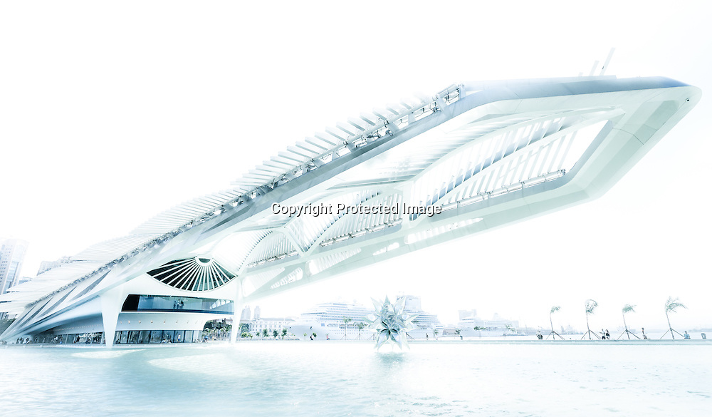 The distinctive neofuturist profile of the Museum of Tomorrow, a point on the marathon route for the 2016 Olympic Games, stands under bright blue sky.