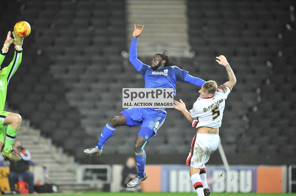 Cardiffs Kenwyne Jones attacks MK Dons Goal. MK Dons v Cardiff, Sky Bet Championship, Saturday 26th December 2016