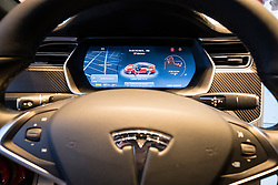 Digital dashboard on Model S car inside Tesla electric car showroom on Kurfurstendamm, Kudamm, in Charlottenburg, Berlin, Germany