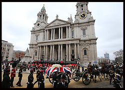 The coffin of Baroness Thatcher arriving at  St.Paul's Cathedral in London at the start of her funeral Wednesday 17th  April 2013 Photo by: Stephen Lock / i-Images<br /> <br /> File photo - One year ago: Baroness Thatcher died.<br /> On Tue, Apr 8 2014 it will be one year since the Longest-serving UK Prime Minister of the 20th century, the first and only woman to serve in the role to date, died on April 8, 2013  after suffering a stroke.