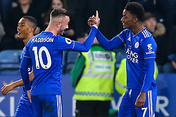 Demarai Gray of Leicester City celebrates with teammate, James Maddison after scoring a goal to make it 1-0 - Mandatory by-line: Robbie Stephenson/JMP - 26/02/2019 - FOOTBALL - King Power Stadium - Leicester, England - Leicester City v Brighton and Hove Albion - Premier League