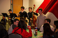 Laconia High School Jazz Band and Chorus served a full spaghetti dinner in the Huot dining area accompanied by the Jazz Combo of Phil Breton on keyboards, Bryson Haddock on drums, Andy Emanuel on saxophone, Mitchell Bailey on trumbone and Mikey O'Brien on bass Tuesday evening.  (Karen Bobotas/for the Laconia Daily Sun)