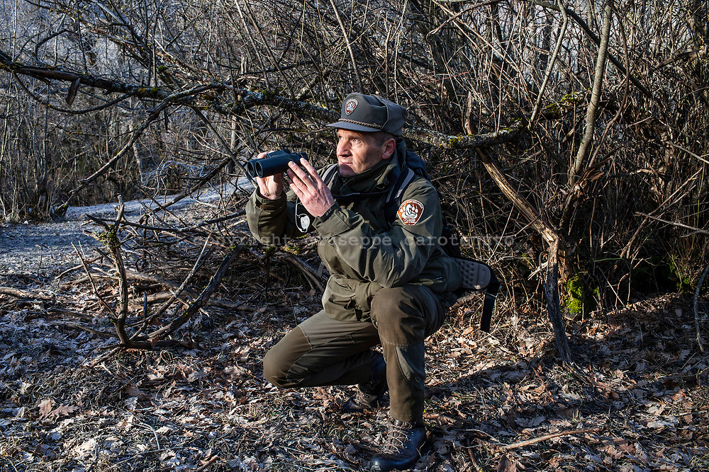 17 February 2017, AQ Italy - A guard of National Park of Abruzzo during a patrol around the Camosciara Natural Reserve.