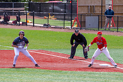 NORMAL, IL - April 08: Kirk Hacker watches the lead of Dakota Kotowski with Jack Butler watching 1st base during a college baseball game between the ISU Redbirds  and the Missouri State Bears on April 08 2019 at Duffy Bass Field in Normal, IL. (Photo by Alan Look)