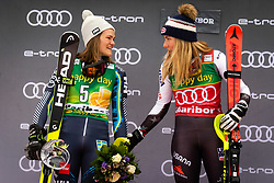 SWENN LARSSON Anna of Sweden, SHIFFRIN Mikaela of USA celebrate on podium during the 6th Ladies' Slalom at 55th Golden Fox - Maribor of Audi FIS Ski World Cup 2018/19, on February 2, 2019 in Pohorje, Maribor, Slovenia. Photo by Blaž Weindorfer / Sportida