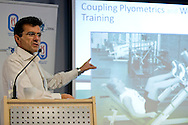 Ph. D. Karim Chamari talks while his scholarship in Sport's Intitut in Warsaw, Poland. Ph. D. Karim Chamari is University Professor at ISSEP Ksar-Said, University of Manouba, Tunis, Tunisia. Ph. D. Karim Chamari is Senior Researcher at Aspetar - Qatar Orthopaedic and Sports Medicine & Education Centre.<br /> <br /> Poland, Warsaw, November 23, 2013<br /> <br /> Picture also available in RAW (NEF) or TIFF format on special request.<br /> <br /> For editorial use only. Any commercial or promotional use requires permission.<br /> <br /> Mandatory credit:<br /> Photo by © Adam Nurkiewicz / Mediasport
