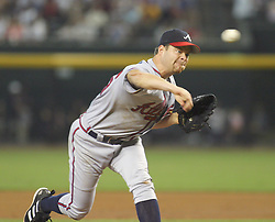 Phoenix,AZ 08-07-04 Atlanta Braves' Paul Byrd throws in the 2nd inning against the Arizona Diamondbacks. Byrd pitched 7 1/3 innings allowing 5 hits and 2 runs in what was a close game until the 9th when Atlanta scored 3 runs. The Braves won 6-2.Ross Mason photo