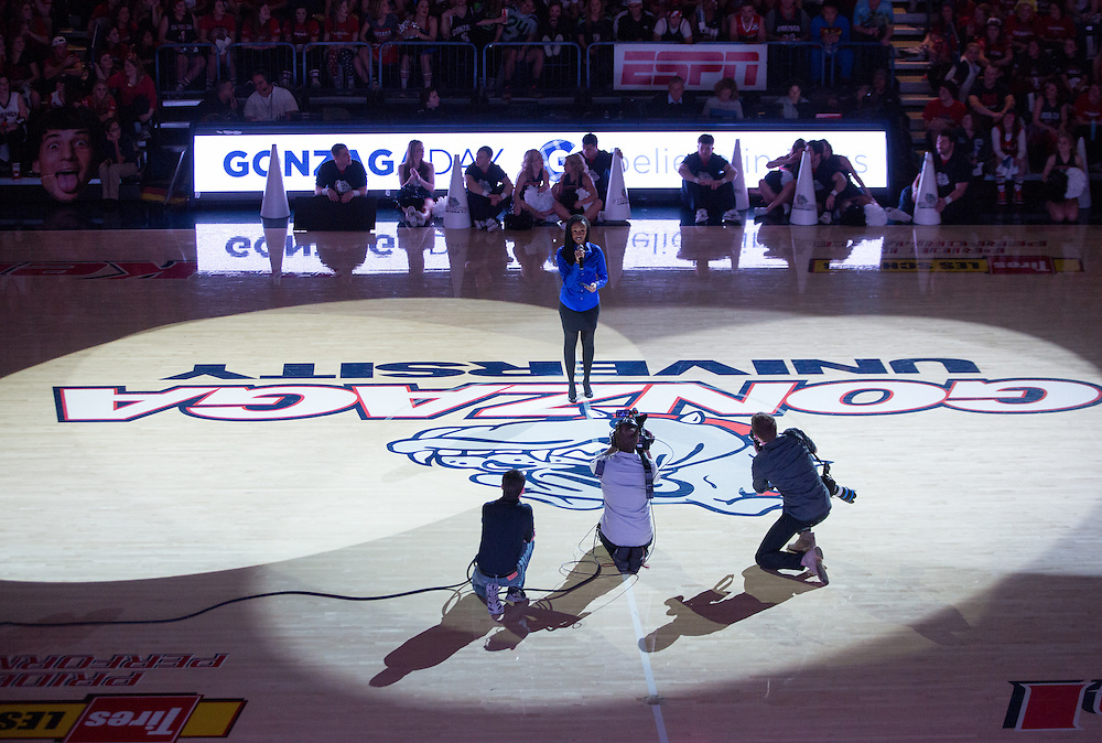 Halftime show during Gonzaga Day at McCarthey Athletic Center, January 31, 2015. (Photo by Eli Francovich)