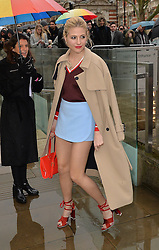 Pixie Lott arriving at the Topshop Unique catwalk show A/W 2015, at The Topshop Show Space, Tate Britain in London, England during London Fashion Week. 22nd February 2015. Photo by James Warren/Photoshot. EXPA Pictures © 2015, PhotoCredit: EXPA/ Photoshot/ James Warren<br /> <br /> *****ATTENTION - for AUT, SLO, CRO, SRB, BIH, MAZ only*****