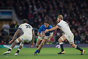 Twickenham, Surrey. UK. Samoas',  Chris VUI, goes for the gap {L} Courtney LAWES and {R} Chris ROBSHAW,  during the England vs Samoa, Autumn International. Old Mutual Wealth Series. RFU Stadium, Twickenham. Surrey, England.<br /> <br /> Saturday  25.11.17  <br /> <br /> [Mandatory Credit Peter SPURRIER/Intersport Images]