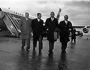 15/01/1962<br /> 01/15/1962<br /> 15 January 1962<br /> Samuel C. Johnson, Vice President of S.C. Johnson and Son Incorporated arrives at Dublin Airport. Mr. Johnson, S.C. Johnson and Son Incorporated (Johnson's Wax International) Regional Director for Europe, Africa and the Middle East was visiting Ireland as one of the three principal speakers at the Second National Export Conference. Picture shows (l-r): Mr. Peter Greville, Goodbodys Ltd. Dún Laoghaire ; Mr. J.J. Stacey; Mr Johnson and Mr Kevin McCourt on the tarmac at Dublin Airport.