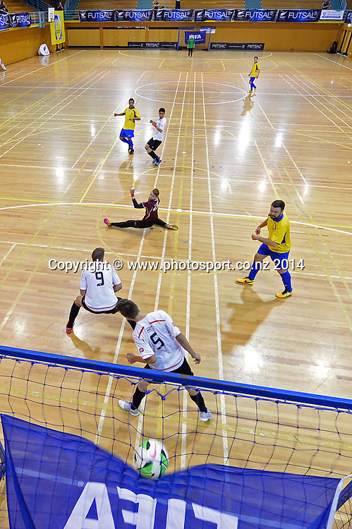 Pedro Nelo scores a goal, Futsal National League, Series 3, Auckland, 5-7 December 2014. Photo: Raghavan Venugopal/www.photosport.co.nz