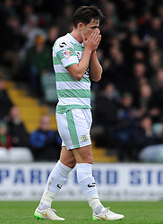 Dejection for Yeovil Town's Liam Sheppard - Photo mandatory by-line: Harry Trump/JMP - Mobile: 07966 386802 - 03/04/15 - SPORT - FOOTBALL - Sky Bet League One - Yeovil Town v Chesterfield - Huish Park, Yeovil, England.