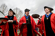 UNITED KINGDOM, Winchester: 05 March 2019 Winchester Pancake Race Photo Feature:<br /> Former Mayor's of Winchester get some practice at flipping pancakes before the Inaugural Winchester Pancake Race earlier this afternoon on Shrove Tuesday. The race, which consisted of 20 teams, took place in the gardens surrounding Winchester Cathedral. <br /> Rick Findler / Story Picture Agency
