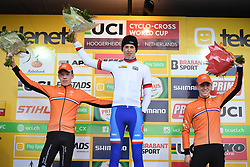 January 28, 2018 - Hoogerheide, NETHERLANDS - Dutch Pim Ronhaar, Czech Tomas Kopecky and Belgian Hendrikx Mees celebrate on the podium after the junior race of the World Cup cyclocross in Hoogerheide, the Netherlands, 9th and last stage of the UCI World Cup competition, Sunday 28 January 2018. BELGA PHOTO DAVID STOCKMAN (Credit Image: © David Stockman/Belga via ZUMA Press)