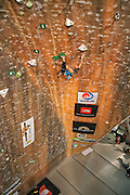 Sasha DiGiulian on her way to winning the 2010 Sport Climbing Series National Championship at Momentum Climbing Gym in Sandy Utah.