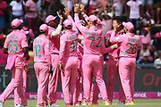 South Africa celebrate a wicket  during the One Day International match between South Africa and England at Bidvest Wanderers Stadium, Johannesburg, South Africa on 9 February 2020.