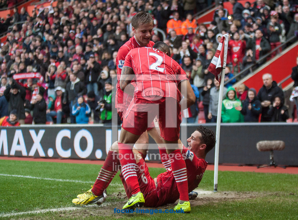 Picture by Daniel Chesterton/Focus Images Ltd +44 7966 018899.16/03/2013.Jay Rodriguez of Southampton celebrates scoring his side's third goal with teammates during the Barclays Premier League match at the St Mary's Stadium, Southampton.