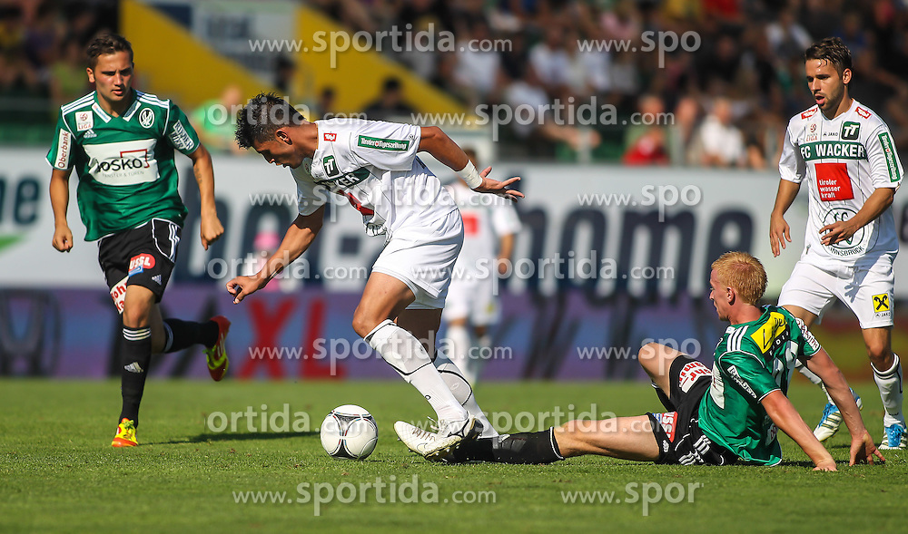 05.08.2012, Keine Sorgen Arena, Ried im Innkreis,  AUT, 1. FBL, SV Josko Ried vs FC Waker Innsbruck, 3. Runde, im Bild Anel Hadzic, (SV Josko Ried, #20), Marcelo Fernandes, (FC Wacker Innsbruck, #9) und Thomas Reifeltshammer, (SV Josko Ried, #28) // during Austrian Football Bundesliga Match, 3rd round, between SV Josko Ried and FC Wacker Innsbruck at the Keine Sorgen Arena, Ried im Innkreis, Austria on 2012/08/05. EXPA Pictures © 2012, PhotoCredit: EXPA/ Roland Hackl