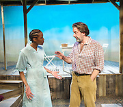 Fanta Orange<br /> by Sally Woodcock <br /> directed by Gareth Machin<br /> at the Finborough Theatre, London, Great Britain <br /> 2nd Ovember 2011 <br /> press photocall<br /> <br /> Kehinde Fadipe<br /> Jay Villiers<br />  <br /> <br /> Photograph by Elliott Franks