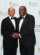 3 March 2011- New York, NY-  l to r:  Dr. Michael Lomax and Dr. Nathaniel Glover at the UNCF A Mind is Gala held at the Marriott Marquis Hotel on March 3, 2011 in New York City. Photo Credit: Terrence Jennings