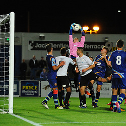 TELFORD COPYRIGHT MIKE SHERIDAN Josh Bradley-Hurst of Gloucester rises highest during the National League North fixture between AFC Telford United and Gloucester City at the New Bucks Head Stadium on Tuesday, September 3, 2019<br /> <br /> Picture credit: Mike Sheridan<br /> <br /> MS201920-015