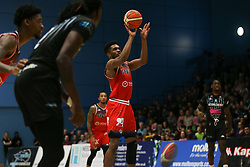 Marcus Delpeche of Bristol Flyers takes a free throw - Photo mandatory by-line: Arron Gent/JMP - 07/12/2019 - BASKETBALL - Surrey Sports Park - Guildford, England - Surrey Scorchers v Bristol Flyers - British Basketball League Championship
