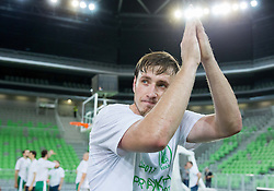 Matjaz Smodis of Krka celebrates after winning the basketball match between KK Krka and KK Union Olimpija in 4th Final match of Telemach League 2012/13 on May 20, 2013 in Arena Stozice, Ljubljana, Slovenia. Krka defeated Union Olimpija third times and become Slovenian Champions 2013. (Photo By Vid Ponikvar / Sportida)