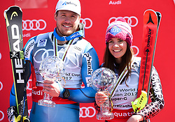 16.03.2017, Aspen, USA, FIS Weltcup Ski Alpin, Finale 2017, SuperG, Herren, Siegerehrung, im Bild Kjetil Jansrud (NOR, Sieger Super G Weltcup), Tina Weirather Super G Weltcup Siegerin // during the winner award ceremony for the men's Super-G of 2017 FIS ski alpine world cup finals. Aspen, United Staates on 2017/03/16. EXPA Pictures © 2017, PhotoCredit: EXPA/ Erich Spiess